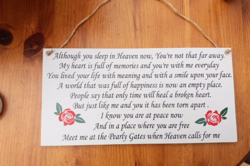 Wooden Memory Plaque - Although You Sleep In Heaven Now